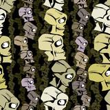 Cartoon skulls seamless pattern.