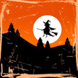 Halloween Card Flying Witch & Full Moon Retro