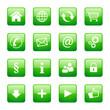 Button Icon Set Quadratisch Grün