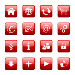 Button Icon Set Quadratisch Rot