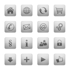 Button Icon Set Quadratisch Grau