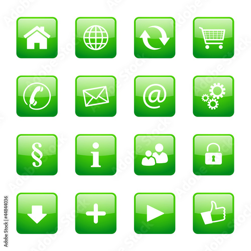 Button Icon Set Quadratisch Grün