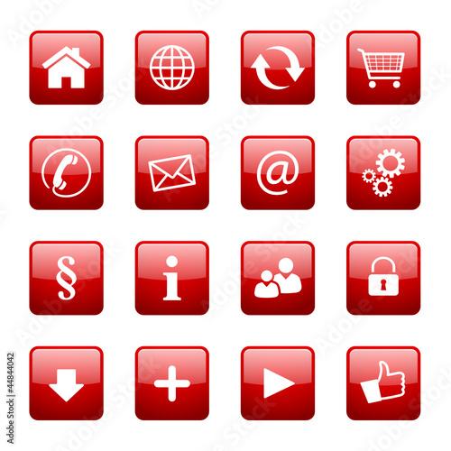 Button Icon Set Quadratisch Rot