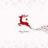 Flying Reindeer, Christmas Ball & Snowflakes Red