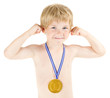 Boy champion with golden medal. Hands raised up over white