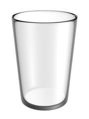 glass empty on white background