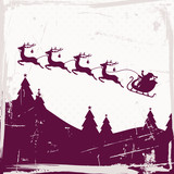 Santa Sleigh 4 Flying Reindeers Purple Retro Beige Background