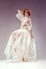 Romantic woman, white vintage dress, retro style, renaissance