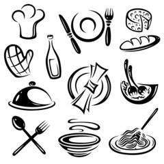 Koch, kochen, Restaurant, Essen, vector set