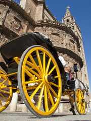 Old-fashioned carriage near cathedral, Seville, Spain