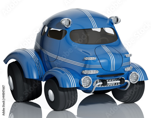 Blue car isolated on white background, 3d.