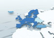 map, Western Europe, European Union, blue, white, grey, political, physical