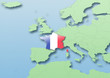 France, flag, map, Western Europe, green, blue, political