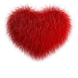 Heart from red fur