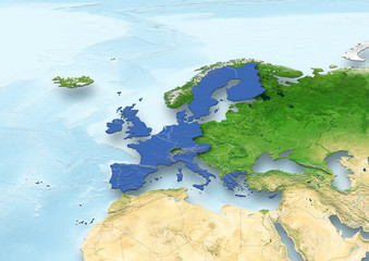 map, Western Europe, European Union, political, relief map