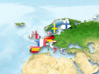 map, Western Europe, flag, flags, European Union, flag, political