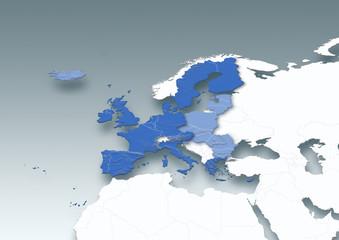 map, Western Europe, European Union, white, grey, political, physical
