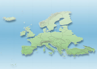 map, Western Europe, political, green, blue, political, physical