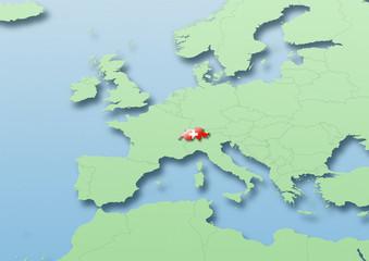 Switzerland, flag, map, Western Europe, green, blue, political