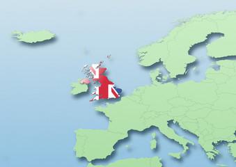 United Kingdom, U.K. Britain, flag, map, Western Europe, green, blue, political