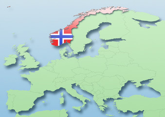 Norway, flag, map, Western Europe, green, blue, political