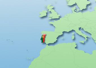Portugal, flag, map, Western Europe, green, blue, political