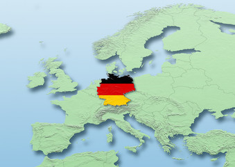Germany, flag, map, Western Europe, green, blue, physical, political