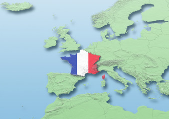 France, flag, map, Western Europe, green, blue, physical, political