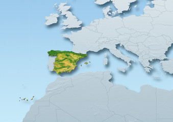Spain surface, map, Western Europe, grey, blue, physical, political