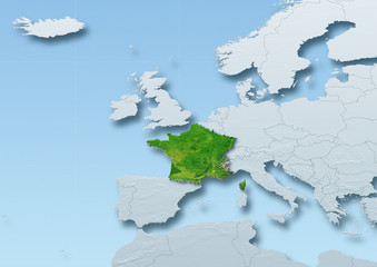 France surface, map, Western Europe, grey, blue, physical, political