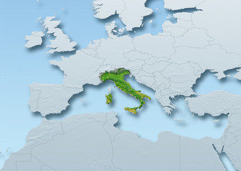 Italy surface, map, Western Europe, grey, blue, physical, political