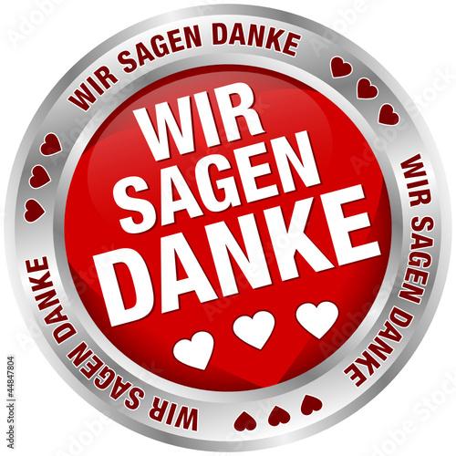 """Button Banner """"Wir sagen danke"""" rot/silber"""