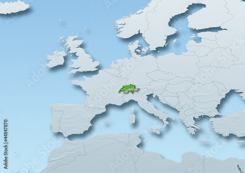 Switzerland surface, map, Western Europe, grey, blue, physical, political