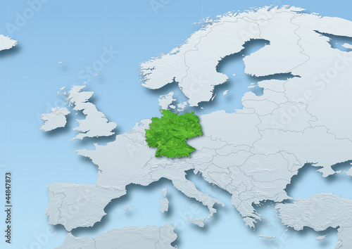 Germany surface, map, Western Europe, grey, blue, physical, political