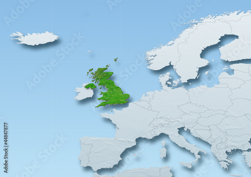 United Kingdom, map, Western Europe, grey, blue, physical, political