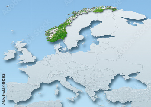 Norway surface, map, Western Europe, grey, blue, physical, political