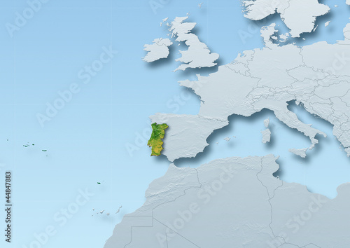 Portugal surface, map, Western Europe, grey, blue, physical, political