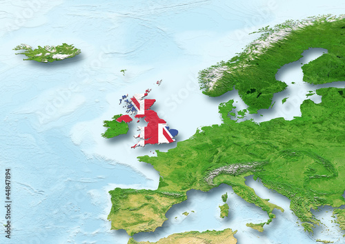 United Kingdom, U.K. Britain, flag, map, Western Europe, physical