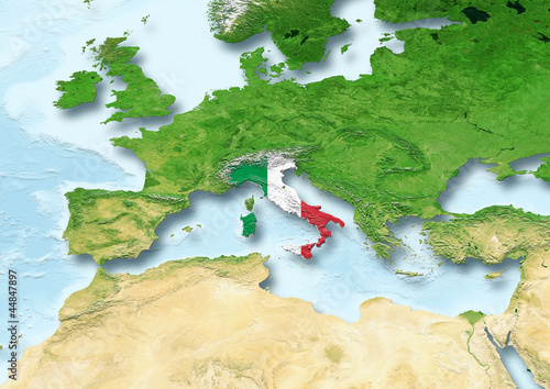 Italy, flag, map, Western Europe, physical