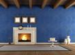blue vintage interior