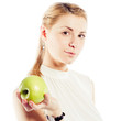 Smiling business woman with green apple