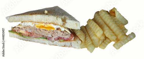 Egg, tuna fish and cheese club sandwich on toasted bread