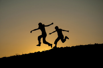 children running silhouette