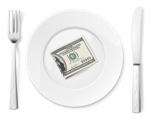 Dollars on plate