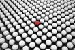 Hole with Red Sphere between Array of White Spheres