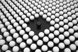 Hole with Black Sphere between Array of White Spheres