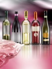 bottiglie di vino su fondo ambientato