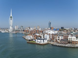 Cityscape of Portsmouth with modern spire in background