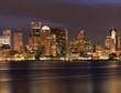 Boston skyline and Inner Harbor at night, USA