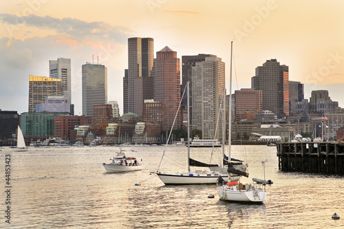 Boston skyline and Inner Harbor at sunset, USA